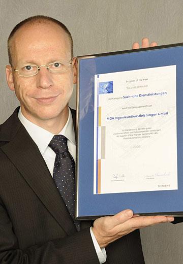 Ausgezeichnet: Supplier Award von Siemens als Anerkennung für MGA.